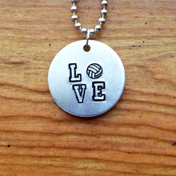 LOVE Volleyball Necklace - Hand Stamped Aluminum Necklace with Volleyball stamp, Sports Jewelry, Varsity Font