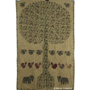 """34"""" Indian Vintage Cutwork Kantha Patchwork Tree Of Life Tapestry Wall Hanging Decor Art"""