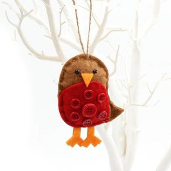 Felt Robin with Button Tree Decoration