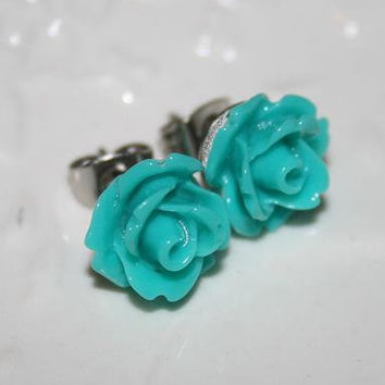 Teal green Rose Ear studs, Teal blossom earrings, Sea green Flower Posts, Wedding -Etsy Valentine Gift, Girlfriend Daughter Friend