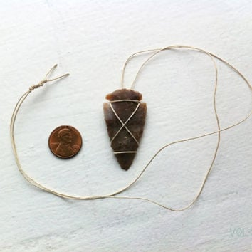 Arrowhead pendant, wrapped with hemp cord - Volcano Store
