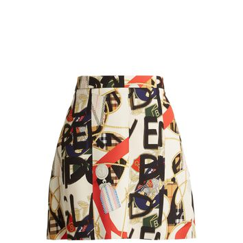 Graffiti archive print silk-blend mini skirt | Burberry | MATCHESFASHION.COM US