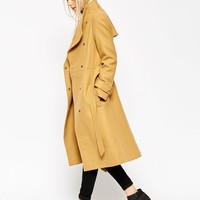 ASOS Coat With Funnel Neck And Belt