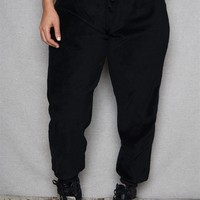 PJNY Contrast Drawstring Waist Plus-Size Plush Jogger Pants - Black