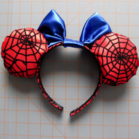 Spiderman Inspired Red and Blue Mouse Ears Headband
