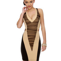 Sultry Body-Con Dress - Black and Beige Dress - Cutout Dress - $39.00