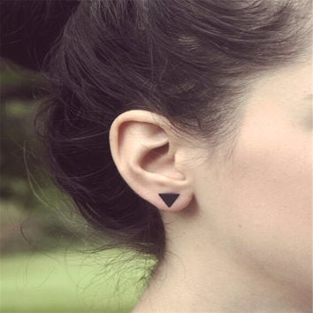 Minimalist Punk Cool Style Gold Silver Black Plated Metal Triangle Stud Earrings For Women Ladies Fashion Jewelry Gifts