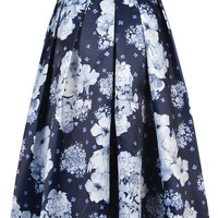 Blue Floral Print Pleated Skirt