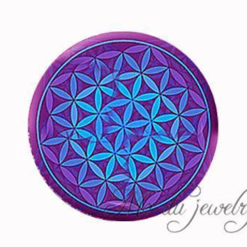 Green purple blue Flower Of Life necklace Om flower pendant necklace mandala jewelry Yoga necklaces Zen jewelry choker necklace 3