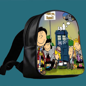 Snoopy and Doctor Who for Backpack / Custom Bag / School Bag / Children Bag / Custom School Bag *