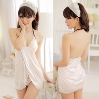 Sexy See-through Strap Night Sleepwear Lingerie Bodydoll Mini Dress White 1Bk