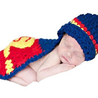 Newborn baby boys girls cute superman photography Prop Costume Crochet Knitted Superman Hat Cover Cape outfits = 1946558276