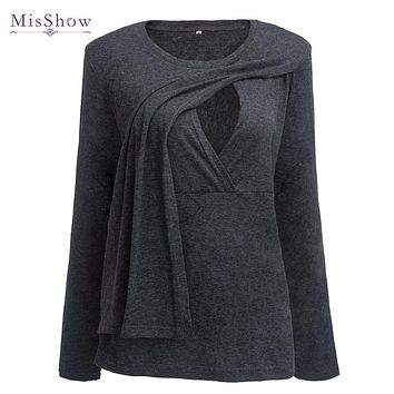 100% Real Sample Plus Size Pregnancy Spring 3/4 Sleeves Maternity Clothes Breastfeeding T-shirt Nursing Clothes for Women