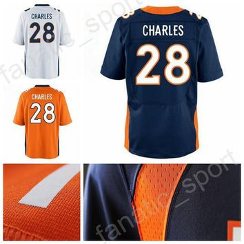 2017 Latest 28 Jamaal Charles Jersey Men Orange Blue White Team American Jamaal Charles Football Jerseys Sale For Sport Fans High Quality