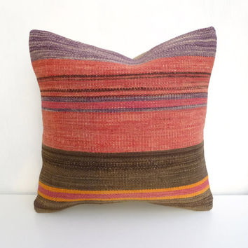 Pink and dark Brown Kilim Pillow cover with Stripes