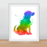 Labrador Dog Art, Dog Art Print, Dog Wall Decor, Dog Wall Art, Dog Silhouette Print, Watercolor Dog, Watercolor Print