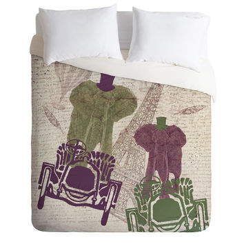 Belle13 Two Elephants In Paris Duvet Cover