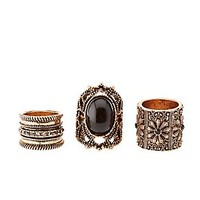 ONYX & FILIGREE ETCHED RINGS - 3 PACK