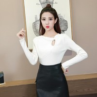 DoreenBow Autumn Winter Women Sweater New Fashion Knitted Ladies Long Sleeve O Neck Hole Outerwear Pullovers White, 1 Piece