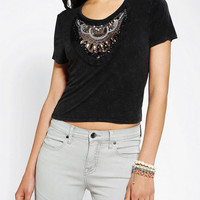 Ecote Embellished Acid-Wash Cropped Top