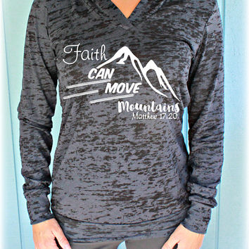 Faith Can Move Mountains Matthew 17:20 Bible Verse Womens Workout Hoodie. Christian Clothing. Workout Inspiration.