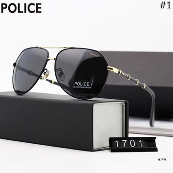 POLICE 2018 new men's bamboo mirror legs retro large frame polarized sunglasses #1