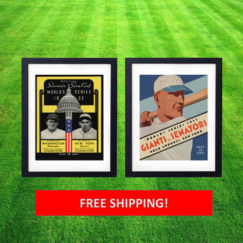 1933 World Series Washington Senators New York Giants Vintage Program MLB Baseball Cooperstown Man Cave Prints Gifts for Men Polo Grounds