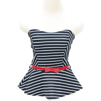 Cute stripe sleeveless tube peplum top with red belt