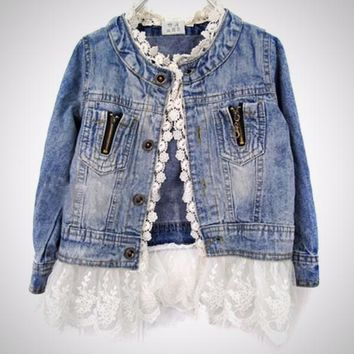 """SHAILA"" Lace Denim Shirt"
