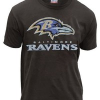 Junk Food NFL Football Baltimore Ravens Bird Black Wash Mens T-shirt Tee