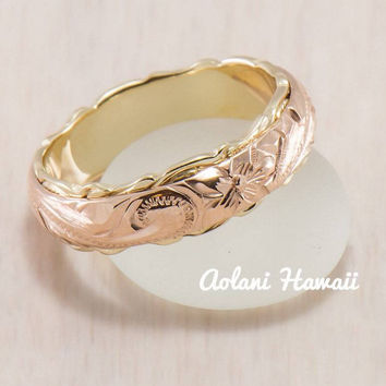 Traditional Hawaiian Hand Engraved 14k Two Tone Gold Ring (Barrel style)