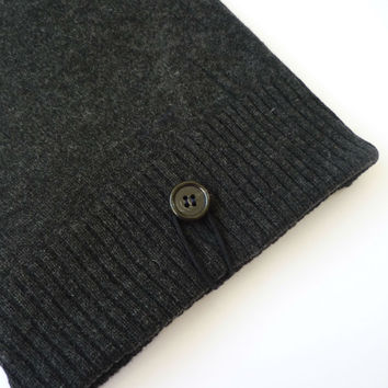 personalized ipad case with charcoal gray merino wool and silk of Japanese vintage kimono, Valentine's gift for him