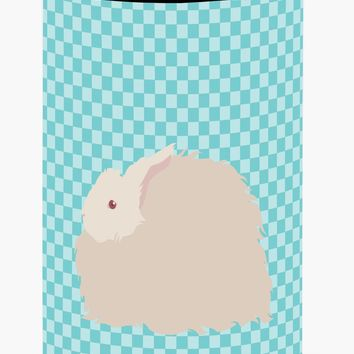 Fluffy Angora Rabbit Blue Check Tall Boy Beverage Insulator Hugger BB8133TBC