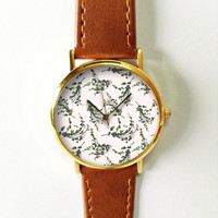 Eucalyptus Watch, Women Watches,  Leather Watch, Men's Watch  Boyfriend Watch, Ladies Watch, Silver Gold Rose Watch, Unique Watches,  Gift