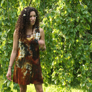 Bamboo v-neck tunic dress hand dyed in colors of fawn and charcoal S, M, L