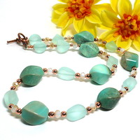 Sea Green Agate Bright Copper Seafoam Sea Glass Handmade Necklace