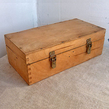Vintage tool box (1960s), plywood, wood,Storage box, Wooden, Wood, tool, tools, Woodworking, Shabby Chic, Treasure box, Home decor, Old