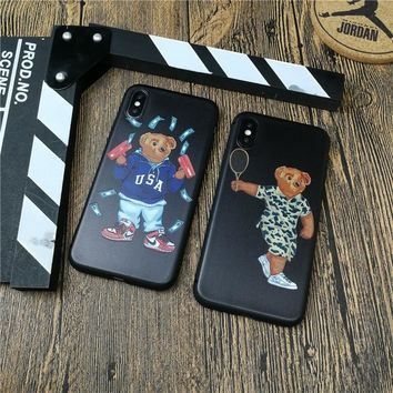 Cute Bear Italy Luxury brand phone cover case for iphone X XS MAX XR 10 8 7 6 6S plus fundas 3d relief soft matte silicon cases