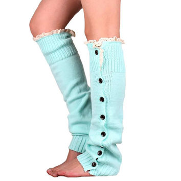 Winter Women Warm Knit Crochet Stocking High Knee Leg Warmers Leggings Slouch Boot Lace Button Stocking