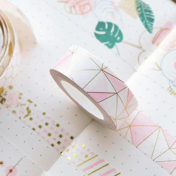 Pink Foil Paper Washi Tape Set  Cute Adhesiva Decorativa Japanese Stationery Washi Tapes Scrapbooking Decorative Tapes