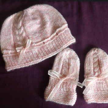 Baby Hat and Mittens - Knitted Hat - Knitted Thumbless Mittens - Knit Baby Set