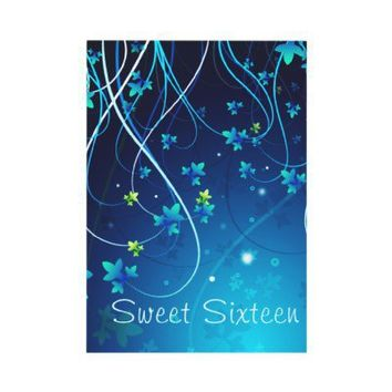 Teal Blue Swirls Sweet Sixteen Party Personalized Invite from Zazzle.com