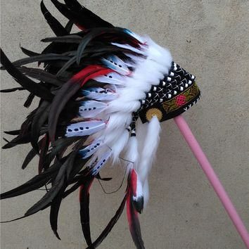 RED war bonnet Feather costumes Indian feather headdress halloween costume