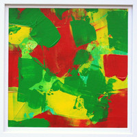Framed Red Yellow Green Abstract Painting ready to hang Home Decor