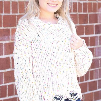 {Ivory} Torn Confetti Cropped Knit Sweater