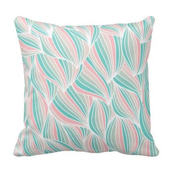 Cool Colorful Ocean Waves Pattern Throw Pillow