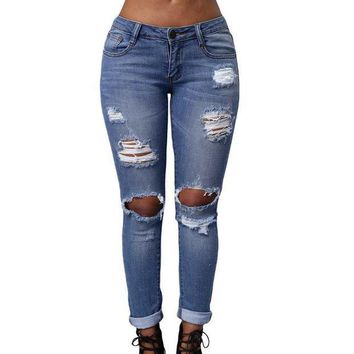 PEAPGB2 Fashion Slim Jeans Women Destroyed Skinny Jeans Lady Cheap Blue Denim Pencil Pants Stretch Waist Pant