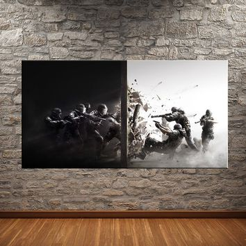 Tom Clancy's Rainbow Six® Siege Oil Painting for Room Background Decoration Hd Action Game Fabric Poster Unframed