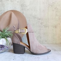 peep toe ankle bootie - taupe
