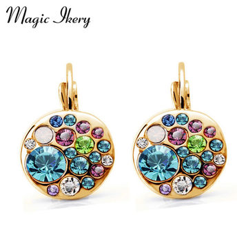 Magic Ikery Trendy Gold Plated Crystal Drop Earrings Women Round Button